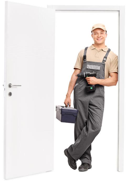 locksmith standing in the doorway